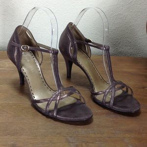 Gianni Bini Bronze Leather T-Strap Sandals